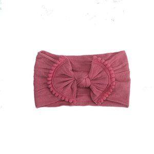 Raspberry Pom Pom Headband